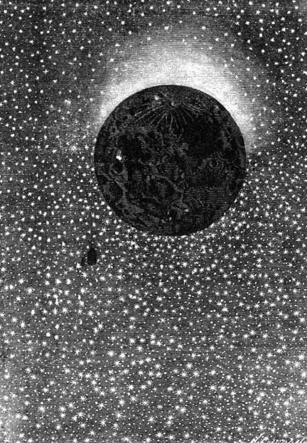An illustration from Jules Verne's novel Around the Moon drawn by Émile-Antoine Bayard and Alphonse de Neuville.